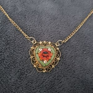 Heart Shaped Micro Mosaic Pendant Necklace ITALY